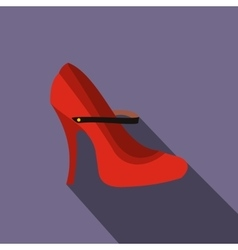 Red high heel shoes icon flat style vector
