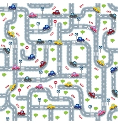 Road seamless pattern with funny cars vector image