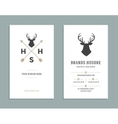 Business card design and retro logo template vector