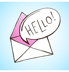 Opened letter with speech bubble hand drawn vector