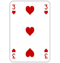 Poker playing card 3 heart vector