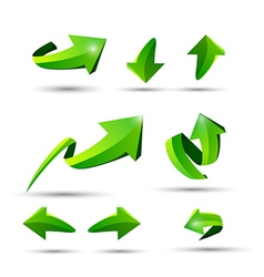 Collection of defference 3d green shine arrow vector
