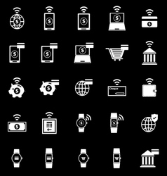 Fintech icons on black background vector