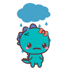 A dinosaur sad girl bad day vector