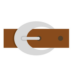 Brown elegant leather belt with buckle icon vector