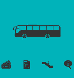 Bus icon flat vector