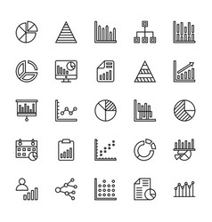 business charts and diagrams line icons 1 vector image vector image