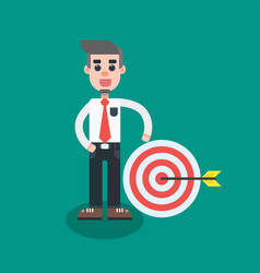 Businessman hit the target with arrow vector