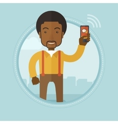 Businessman using mobile phone vector image vector image