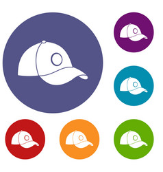 cap icons set vector image vector image
