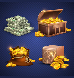 casino 3d signs and money icons dollars vector image