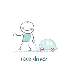 driver race car with a toy car vector image vector image