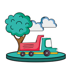Dump truck in the city with clouds and tree vector