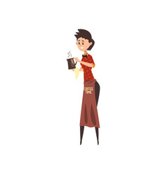 Friendly female barista with brown apron holding vector