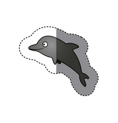 Gray happy dolphin cartoon icon vector