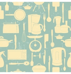Grunge Retro seamless pattern of kitchen too vector image