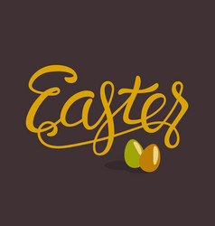 Happy easter lettering with eggs isolated on brown vector