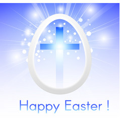 Happy easter with a cross inside a easter egg vector
