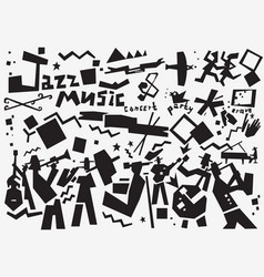jazz band doodles vector image vector image