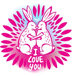 Love sketchy with with rabbits vector image vector image