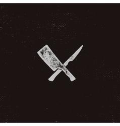 Meat cleaver and knife symbols vintage steak vector