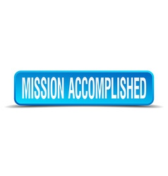 Mission accomplished blue 3d realistic square vector