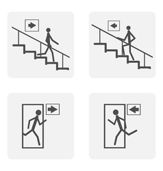monochrome icon set with staircase door vector image vector image