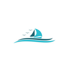 ocean sailing boat logo vector image