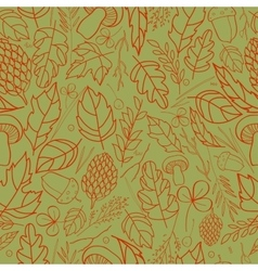 pattern of autumn leaves berries grass vector image vector image