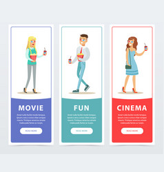 People going to watch movies three cinema banners vector
