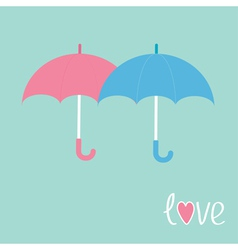 Pink and blue umbrellas love card vector