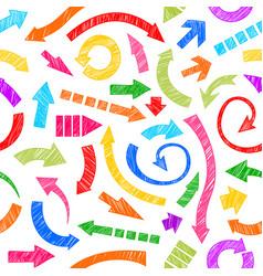 Rainbow hand drawn arrows vector image
