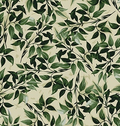 Seamless floral pattern with ficus leaves vector image