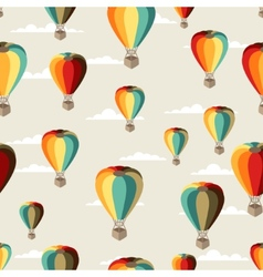 Seamless travel pattern of hot air balloons vector