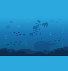 Silhouette of big ship on underwater landscape vector