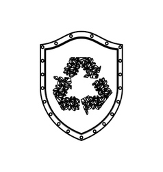 Silhouette shield with with recycled symbol vector