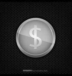 silver dollar coin vector image