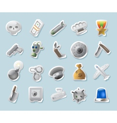 Sticker icons for military and crime vector image vector image