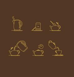 tea brewing thin line set vector image