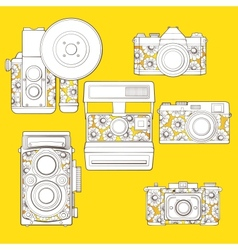 Vintage photo cameras set with floral pattern vector image vector image