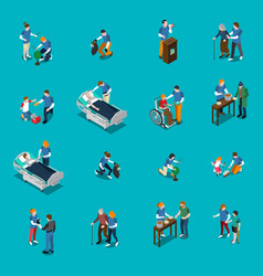 Volunteer charity isometric people set vector