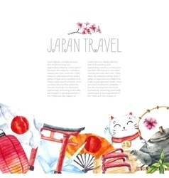 Watercolor set of japan vector