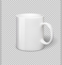 White ceramic mug realistic cup on vector