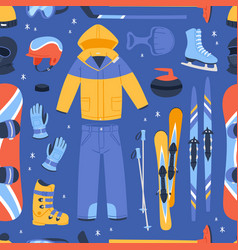 winter sport and clothes icons snow ski vector image