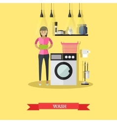 Woman wash clothes in washing machine vector