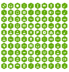 100 music icons hexagon green vector