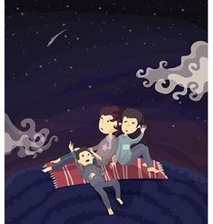 Family watching stars on the hill vector