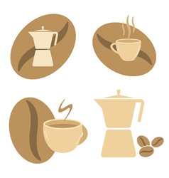Mokka pot coffee cups and beans vector
