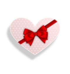 Romantic Gift Box with Bow Ribbon for Valentines vector image