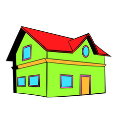 two-storey house icon icon cartoon vector image